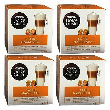 Nescafé Dolce Gusto Latte Macchiato, Paquete de 4, 4 x 16 Cápsulas (32