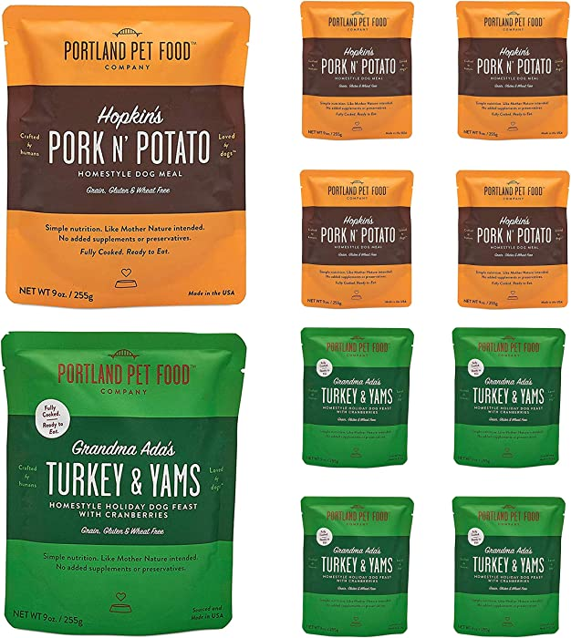 Portland Pet Food Company – Natural Wet Dog Food Pouches – Human-Grade, Gluten-Free Mixer or Dog Food Topper, Made in The USA Dog Food (4X Ada's Turkey/ 4X Hopkin's Pork)