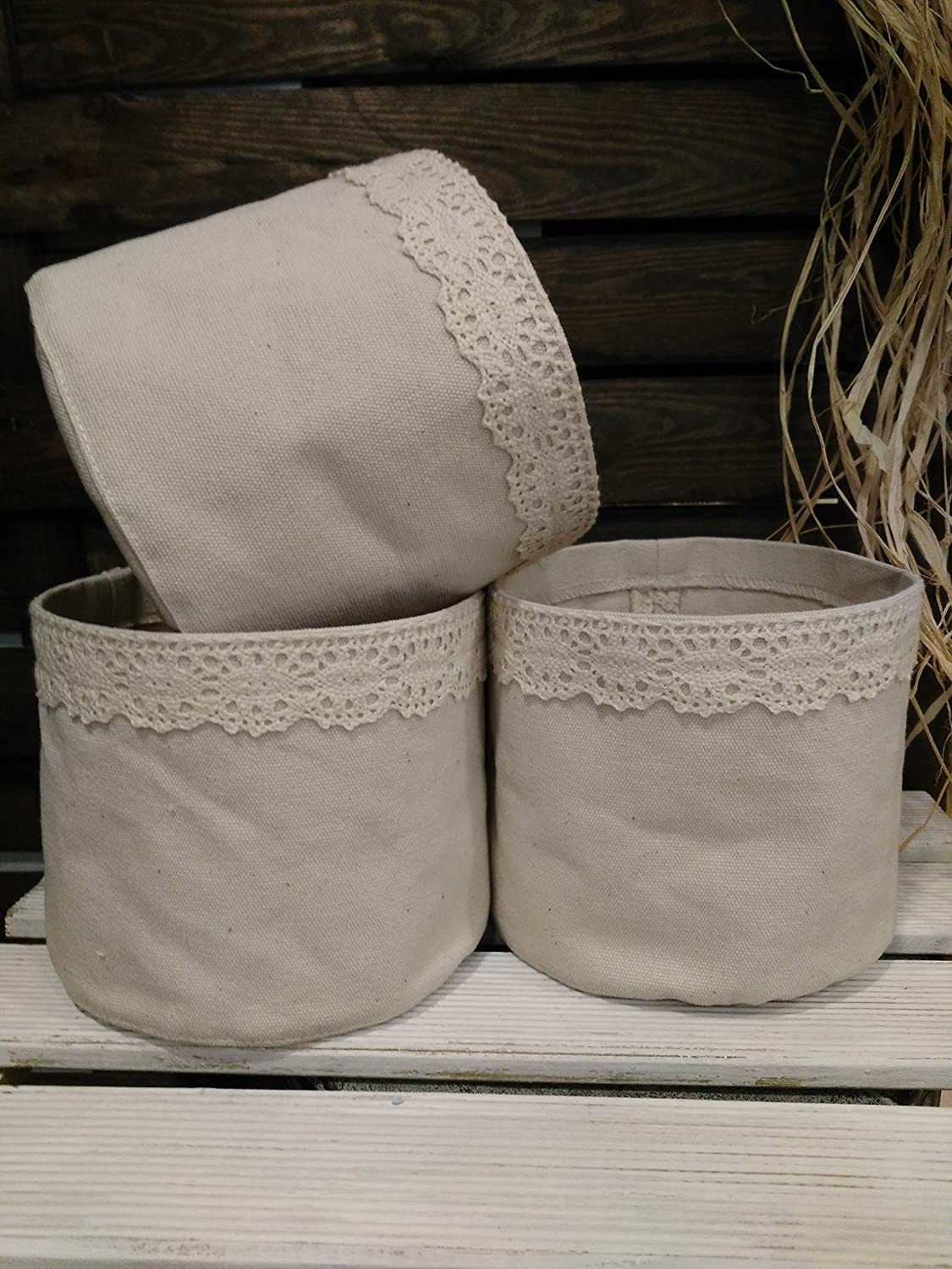 Kitchen organizing, rustic storage bins, small fabric containers, Set of 3 canvas baskets, fabric bowls