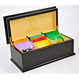 IndianTeaCompany Premier Black Wooden Tea Chest 3 Compartment with Cream Velvet Lining & 30 Twinings tea bags, Box, Caddy, Perfect Gift