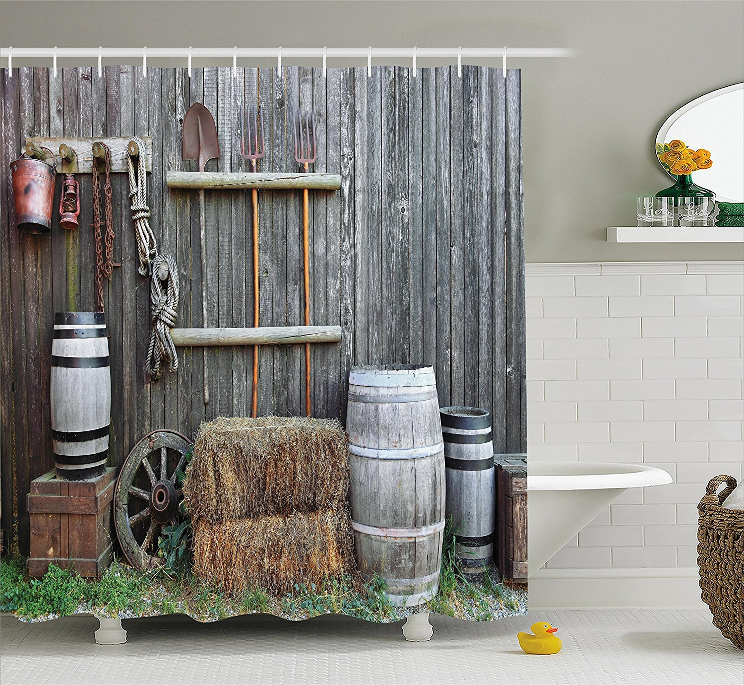 LIBIN Agriculture Shower Curtain, Western Wooden Barn Countryside Bucolic Rural House Folk Vintage Scenery, Fabric Bathroom Decor Set with Hooks, Grey Light Brown