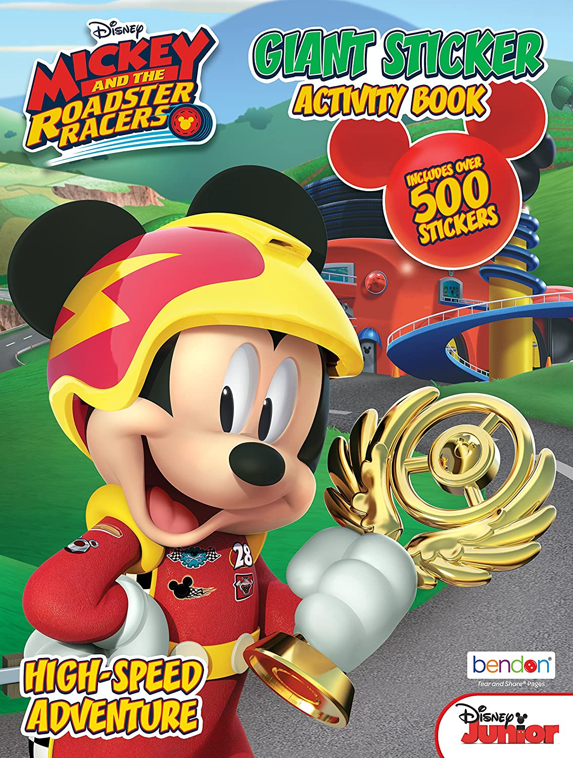 Bendon 43136-AMZB Mickey /& The Roadster Racers Giant Sticker Activity Book