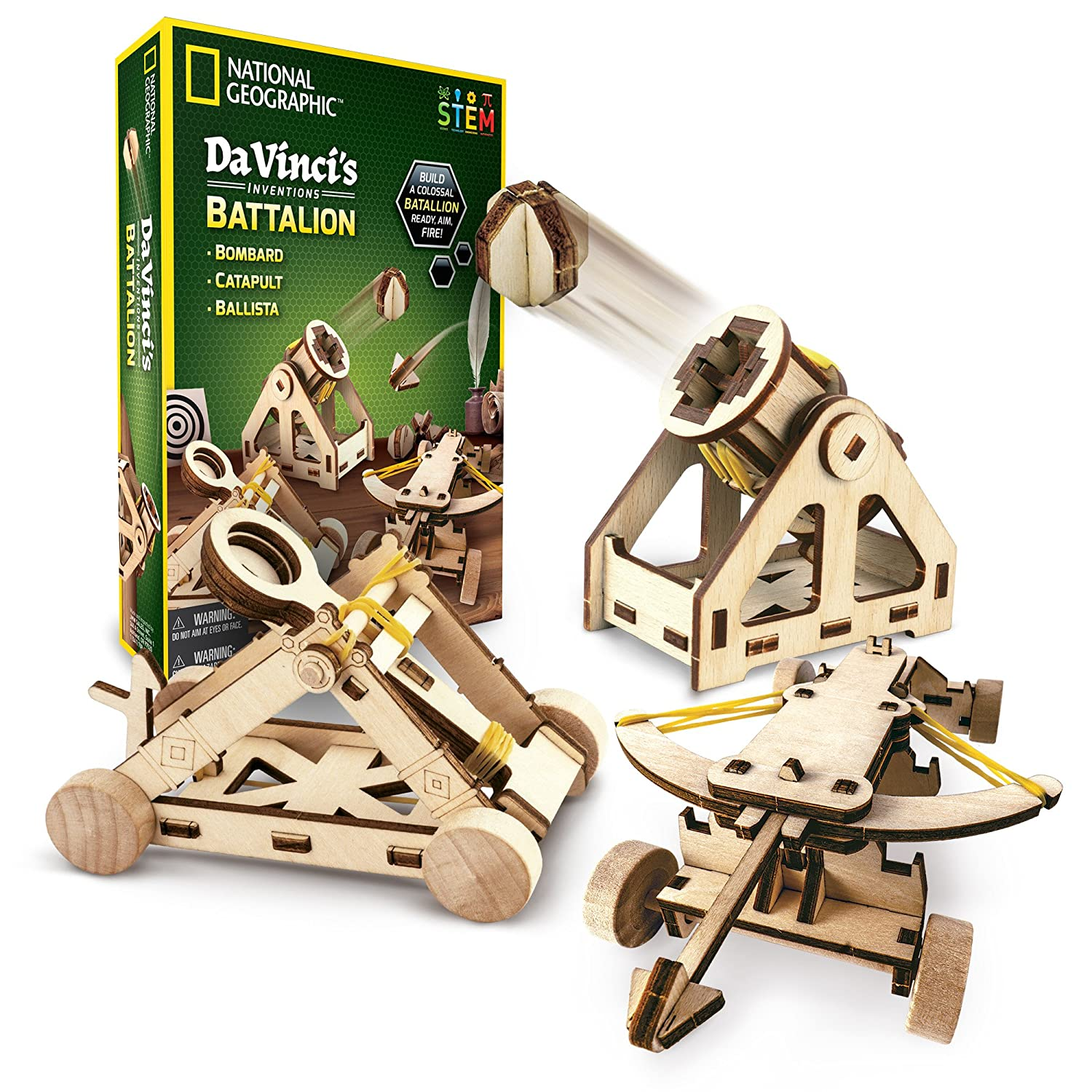 NATIONAL GEOGRAPHIC - Da Vinci's DIY Science & Engineering Construction Kit – Build Three Functioning Wooden Models: Catapult, Bombard & Ballista