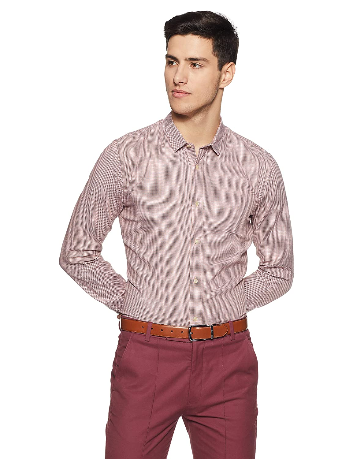 Image of Casual Button-Down Shirts Scotch & Soda Men's Slim Fit Classic Shirt in Structured Weave