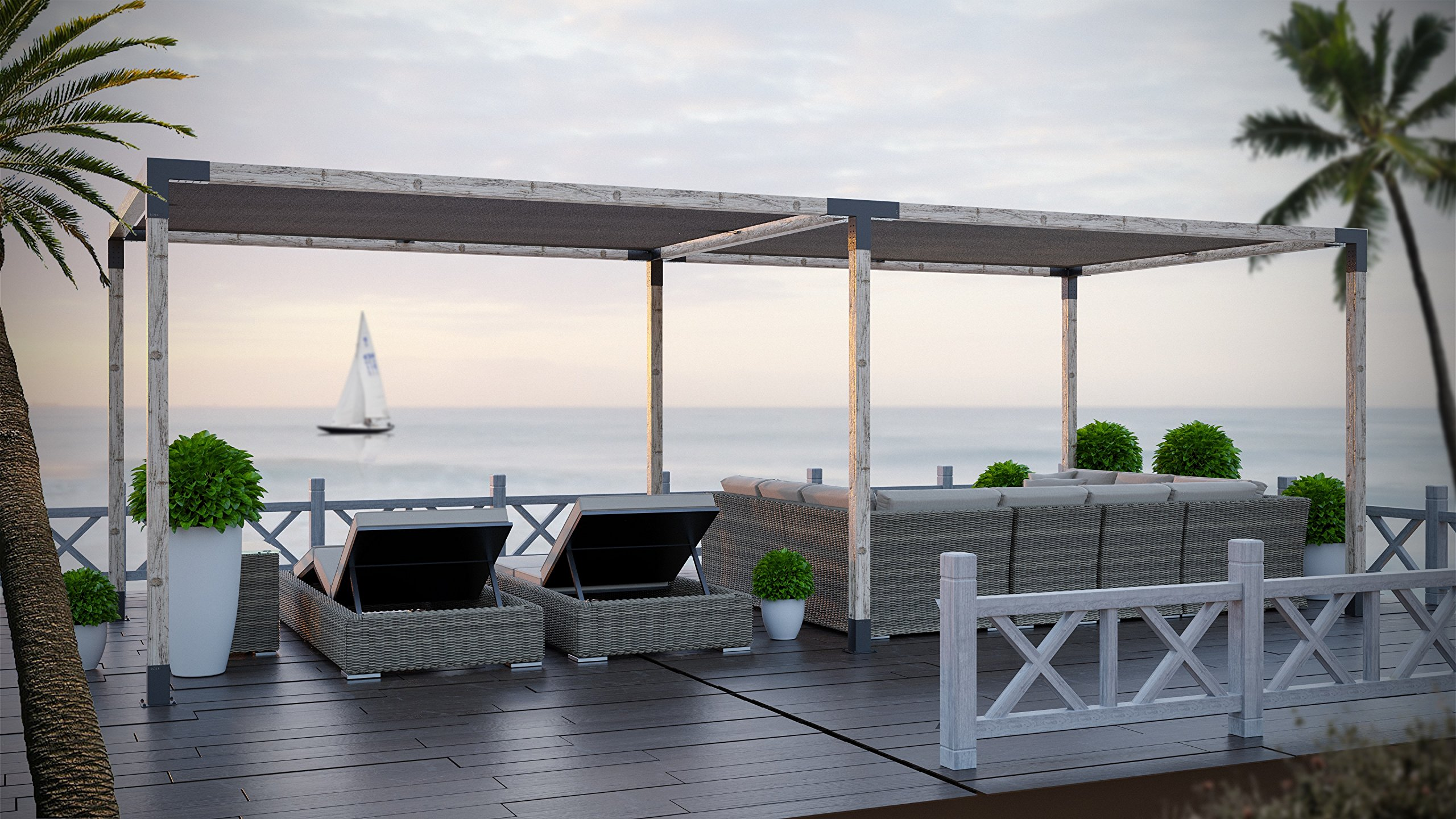 TOJA Grid - Double Pergola with Shade Sail (12x16 - Includes 8x12+8x12 Shade Sails)