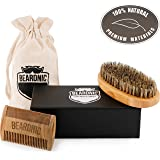 Beardnic Beard Brush & Beard Comb Kit by All-Natural Handmade Set With Beautiful Cotton Travel pouch And Magnetic Gift box   Sturdy Boar Bristles For Facial Hair Grooming
