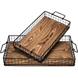 MyGift Rustic Metal Wire & Wood Nesting Serving Trays with Handles, Set of 2