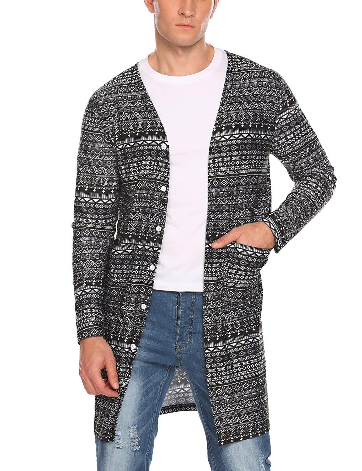 COOFANDY Men's Ruffle Shawl Collar Cardigan Lightweight Mesh See Through Long Length Drape Cape 11210512