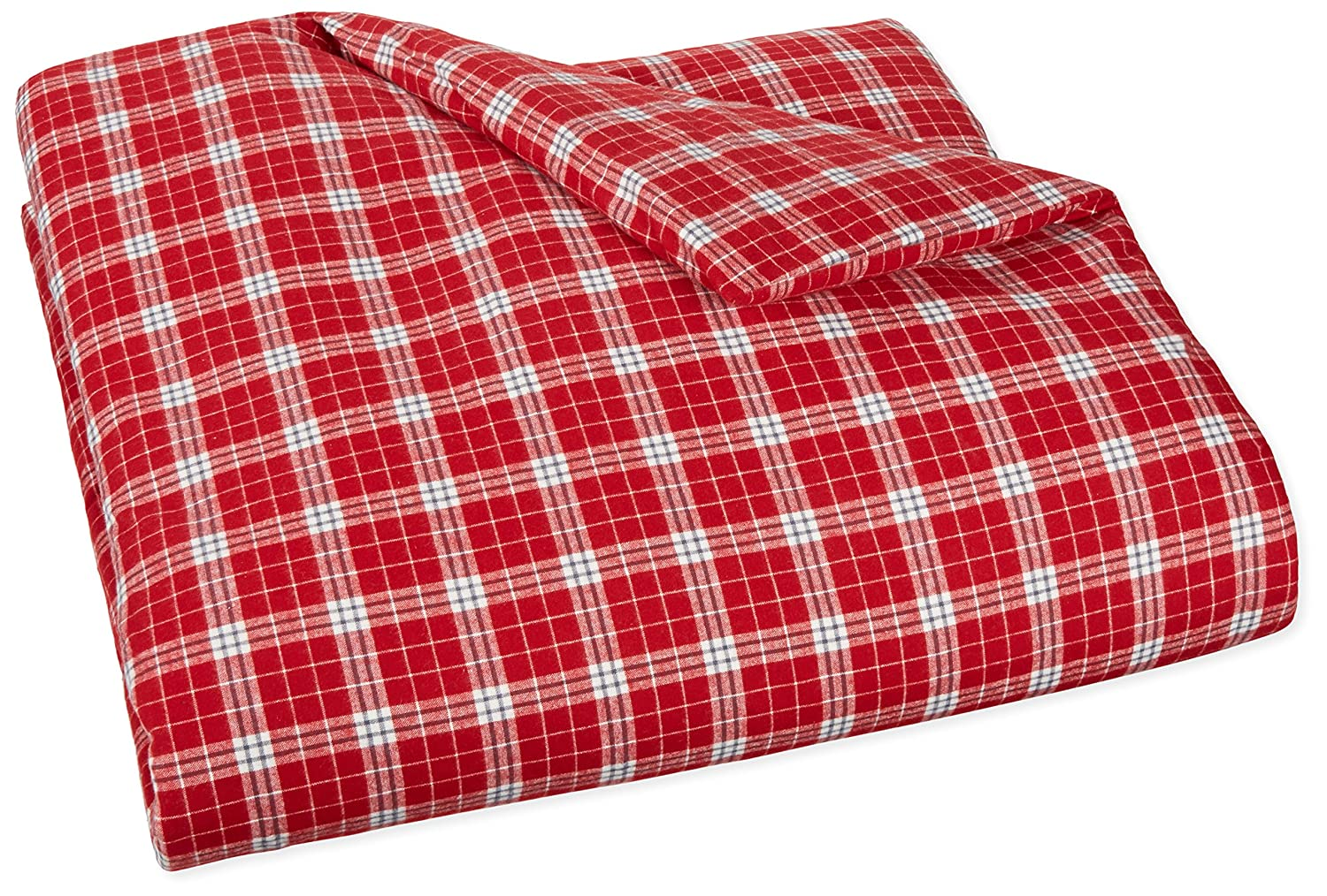 AmazonBasics Yarn-Dyed Lightweight Flannel Duvet Cover - Full/Queen, Bordeaux Plaid