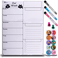 Dry Erase Weekly Magnetic Calendar Set for Refrigerator Whiteboard Planner with Stain Resistant Technology Attach to Fridge Or Hang on Wall 17X13 inch Organizer Checklist & Message Board