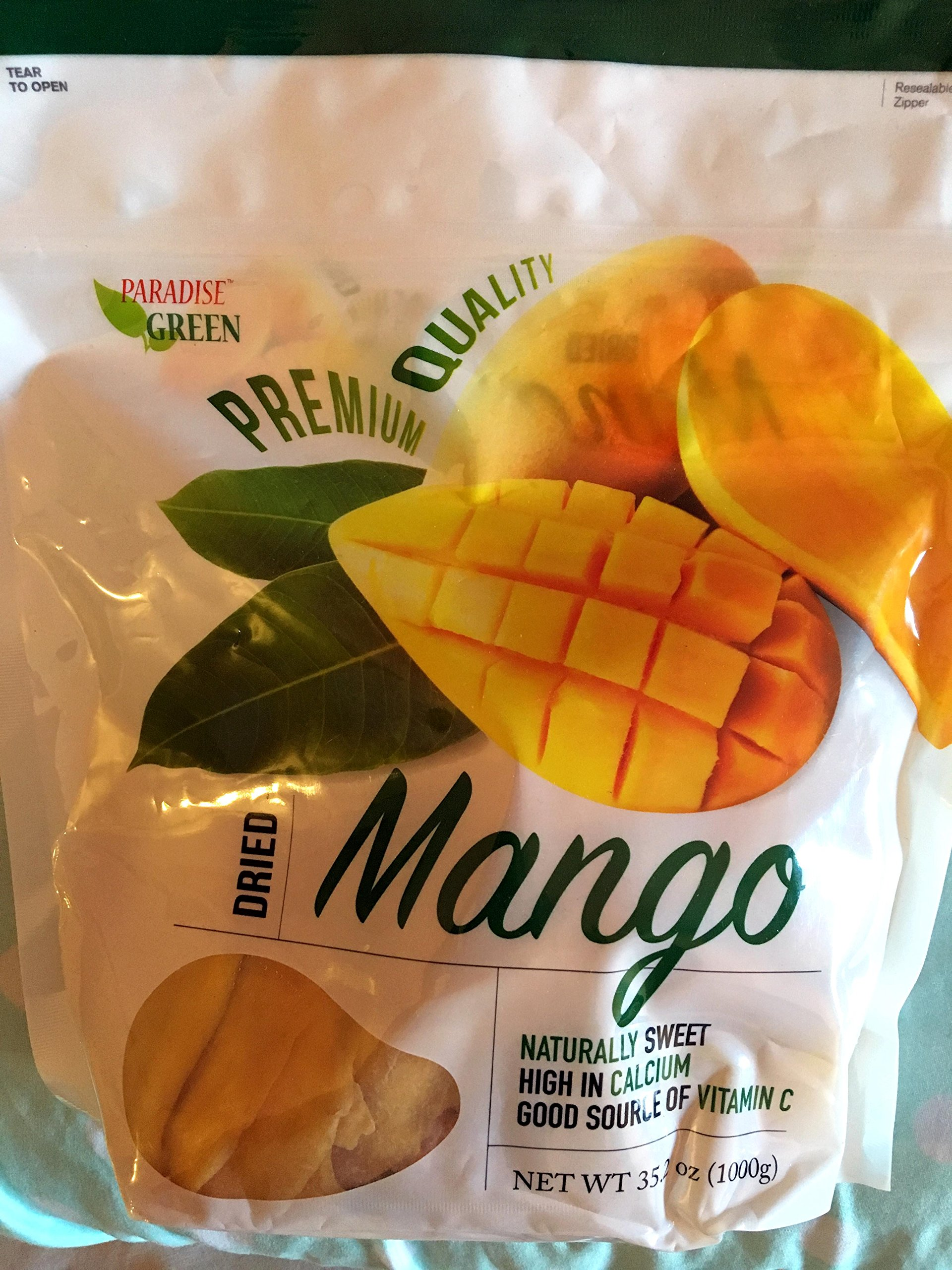 Paradise Green Dried Mango Premium Quality 35 Oz (1 Pack)