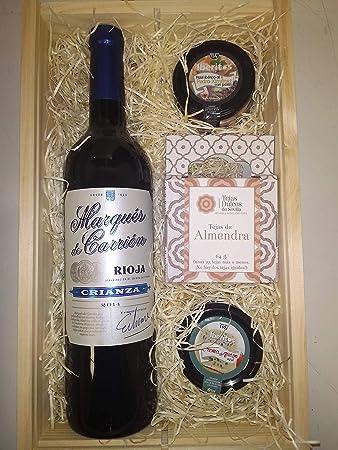 Botella de vino Marqués de Carrión Crianza, Tejas Dulces, paté ibérico y crema de queso azul Deliex