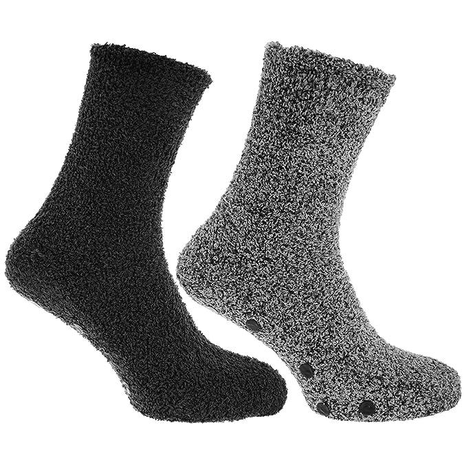 Calcetines para dormir de invierno con adherencia al suelo hombre caballero (2 pares) (