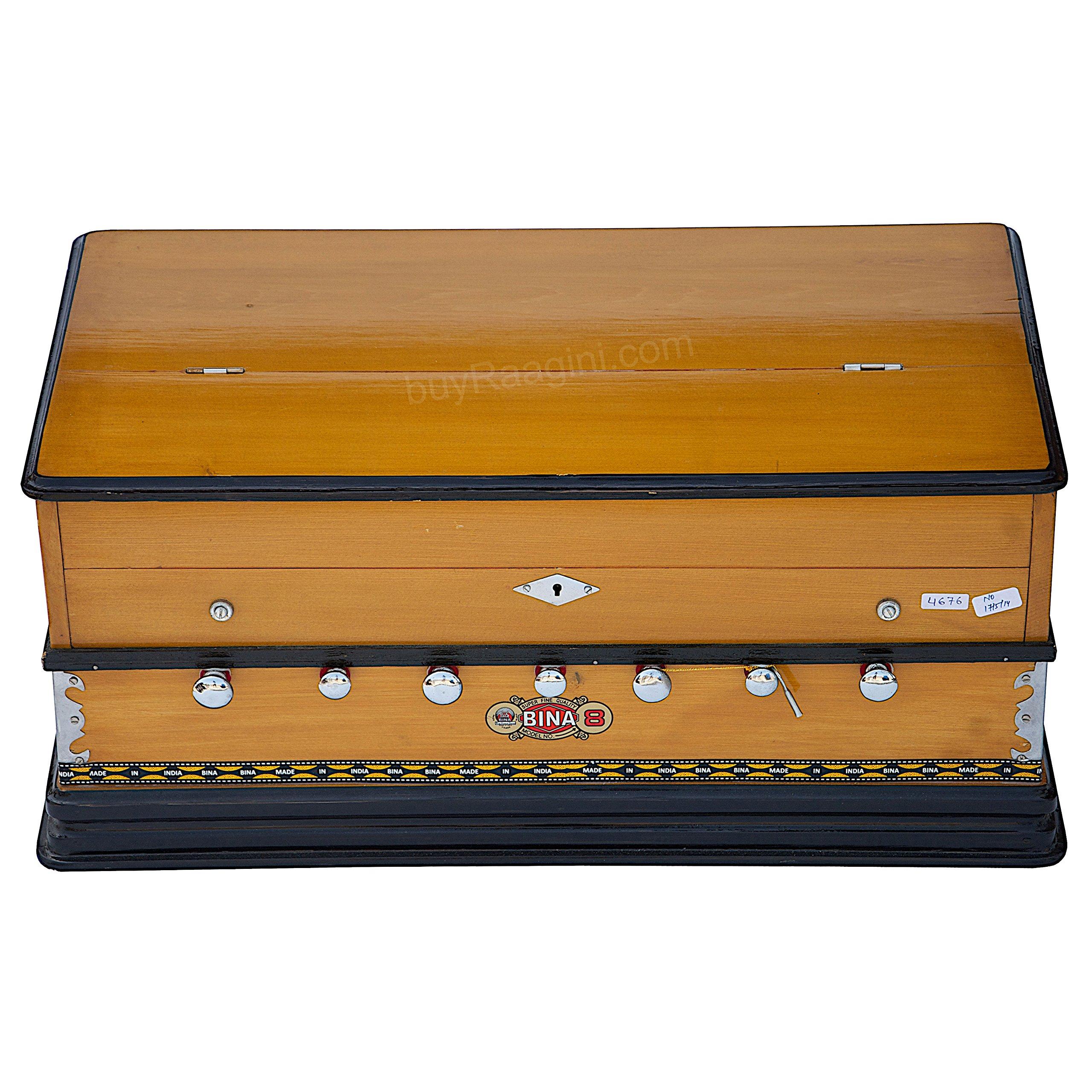 Harmonium Musical Instrument, BINA No. 8, 7 Stops, 3 1/4 Octaves, Coupler, Tuned To A400, Double Reed, Natural Color, Book, Nylon Bag (PDI-DJF) by Bina (Image #8)