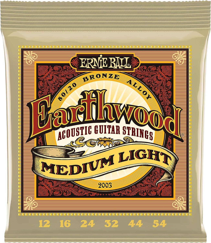Ernie Ball Earthwoo d Cuerdas para guitarra acústica de bronce medio 80/20 - Indicador 12-54