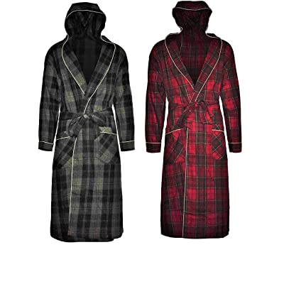 Andrew Scott Mens 2 Pack Long Robe / 100% Cotton Flannel Brush Warm Hooded Bathrobe (2 Pack -Assorted Plaids, Small/Medium) at Amazon Men's Clothing store