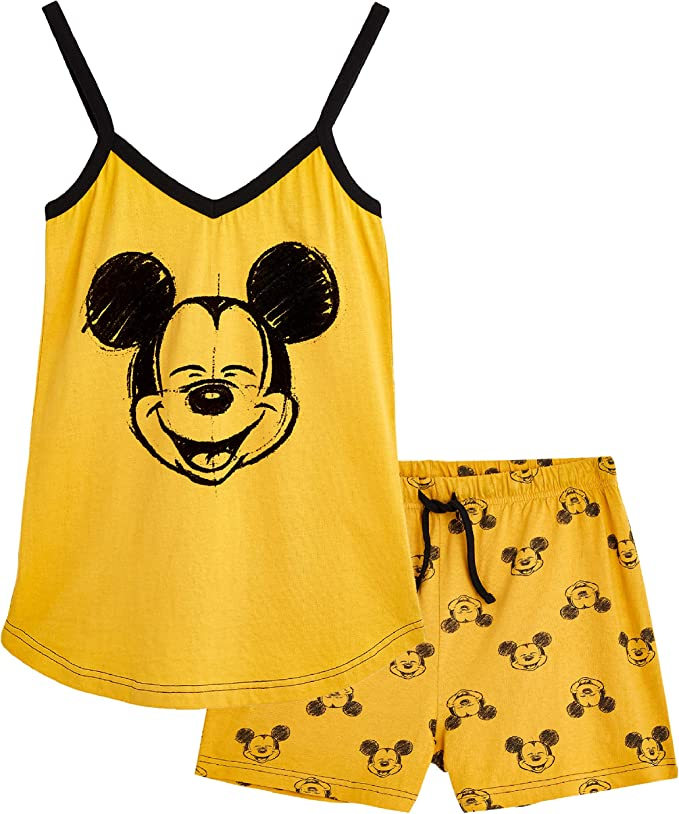 Set de pijama para mujer, 100% algodón, Mickey Mouse y Minnie Mouse