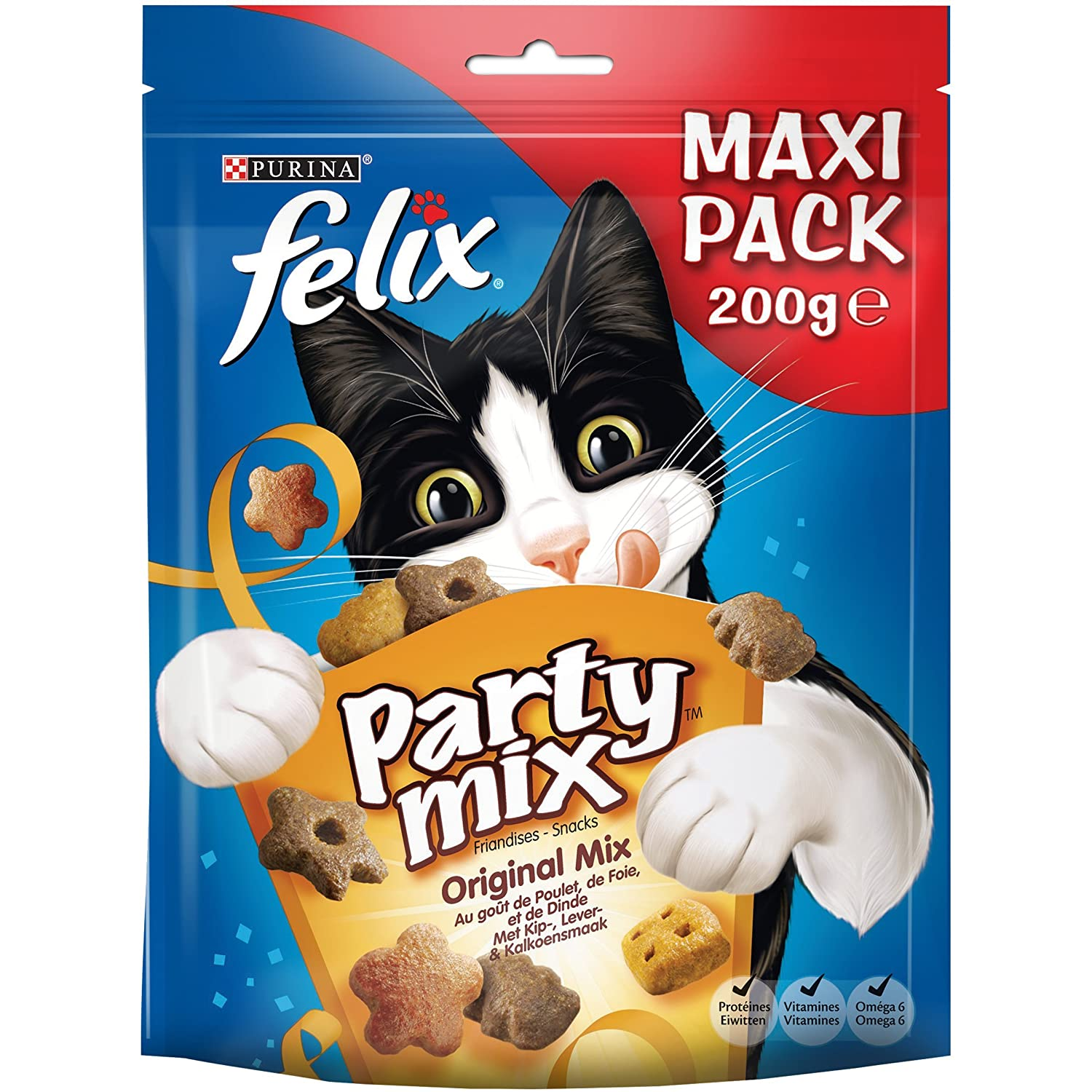 Felix Party Mix Original : Poulet, Foie, Dinde - 200 g - Friandises pour Chat - Lot de 5