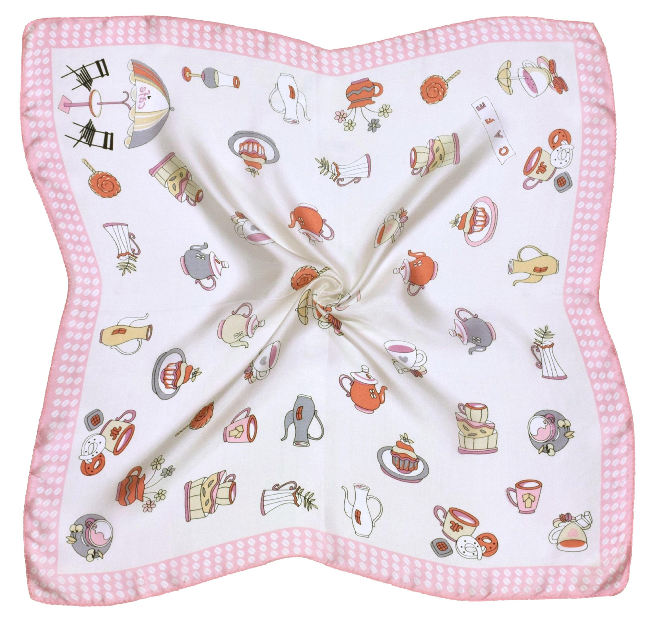 White Pink Teacup Printed Fine Small Square Silk Scarf