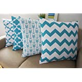 "Howarmer® Canvas Cotton Aqua Blue Decorative Throw Pillows Cover Set of 4 Geometric Pattern Cushion Cover for Couch 18"" X 18"" Blue Trellis Chain,aqua Ogee Accent,teal Arrow,chevron Striped"
