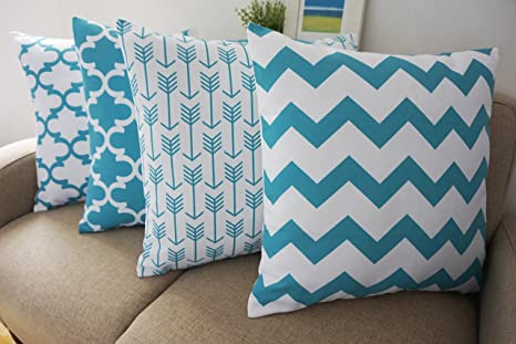 Howarmer® Canvas Cotton Aqua Blue Decorative Throw Pillows Cover Set of 4 Geometric Pattern Cushion Cover for Couch 18