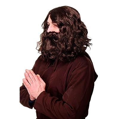 WIG ME UP - Perruque brune barbe carnaval prophète gourou Jesus hipster  lutin homme préhistorique WIG005 cb38685c0bc