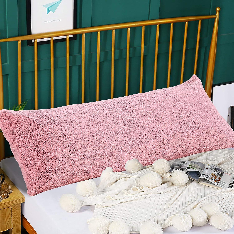 panku body pillow cover sherpa body pillow case with side zipper super soft comfy body pillow pillowcase 21 x54 pink