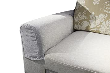 Zipcase Couch Sofa Armrest Covers For Armchairs Loveseats And Sofas Set Of Two Light Grey With 12 Upholstery Pins