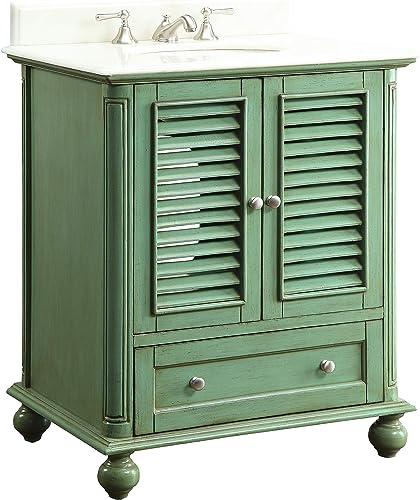 30″ Shutter Blinds Vintage Green Keysville Bathroom Sink Vanity