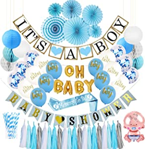 Baby Shower Decorations for Boy OR Gender Reveal, Boy Baby Shower Decorations with Blue Party Decorations, Baby Balloons, Mommy to Be Sash, Paper Straws, Its a Boy Banner, and More Party Supplies
