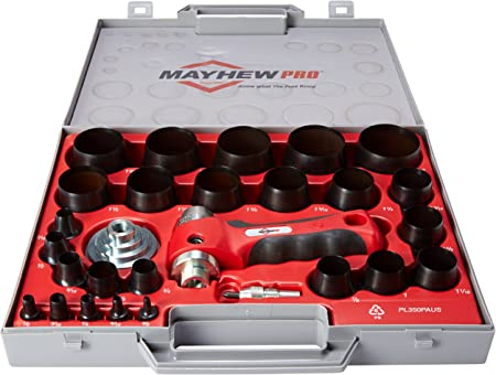 Mayhew Pro 66080 1//8-Inch to 2-Inch Imperial SAE Hollow Punch Set