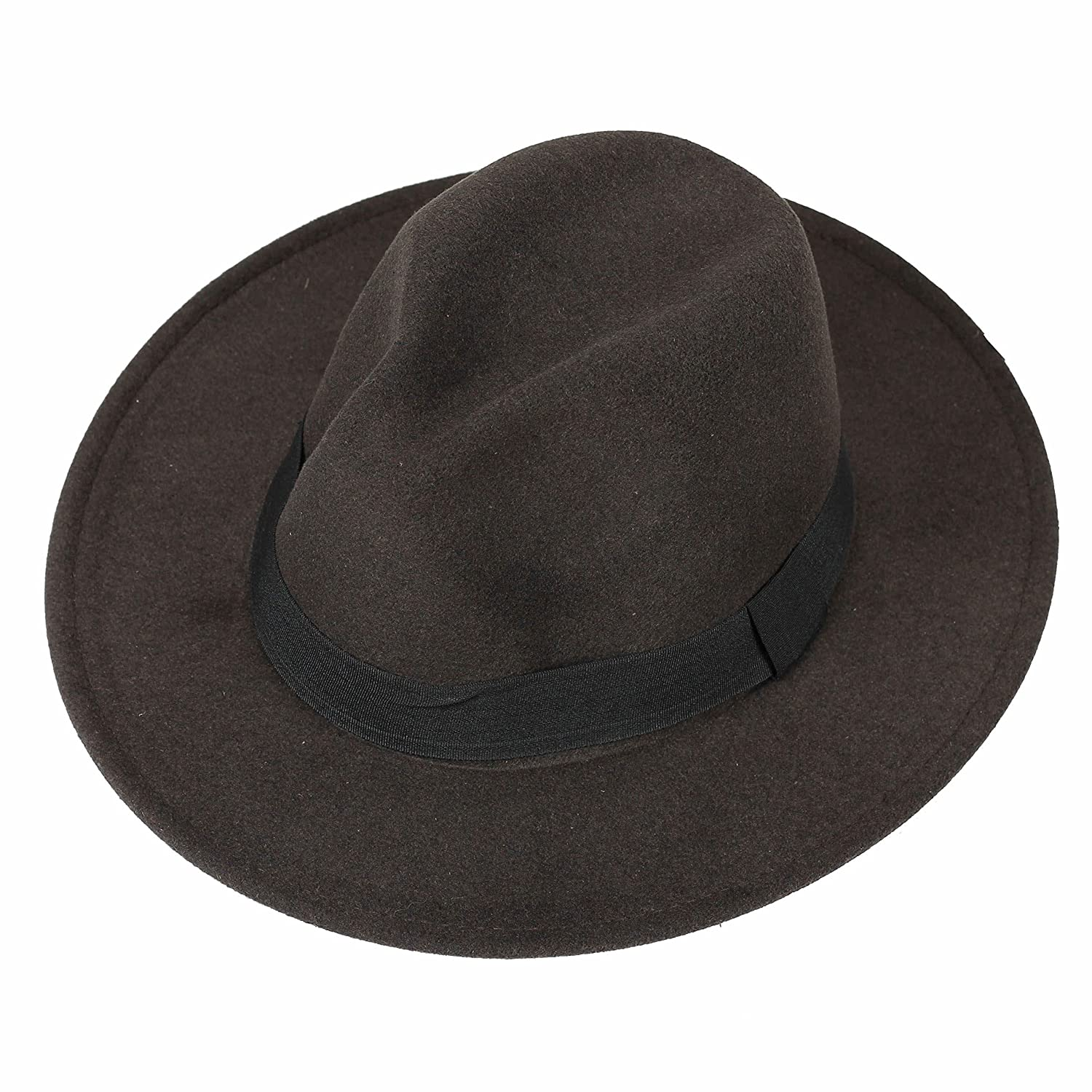 7e93159b31b Amazon.com  Mens Ladies Vintage Wide Brim Panama Hat Adjustable 1 Size  Fedora Trilby Style Cap-7 Colours Brown   Clothing