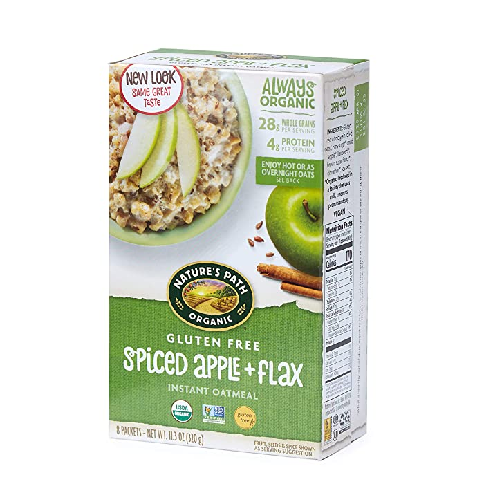 Nature's Path Spiced Apple with Flax Instant Oatmeal, Healthy, Organic, Gluten Free, 8 Pouches per Box, 11.3 Ounces (Pack of 6)