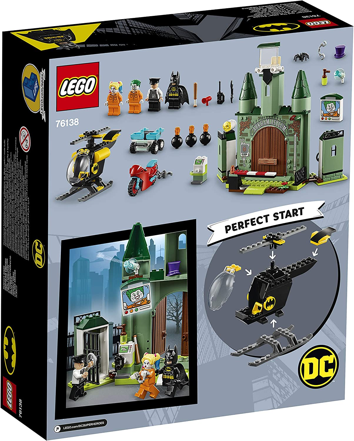 LEGO 76138 DC Batman 4 Toys for Boys and Girls Age 4 with Buildable Helicopter Batman and The Joker Escape