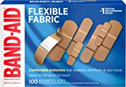 Band-Aid Brand Flexible Fabric Adhesive Bandages for Wound Care & First Aid, Assorted Sizes, 100 ct