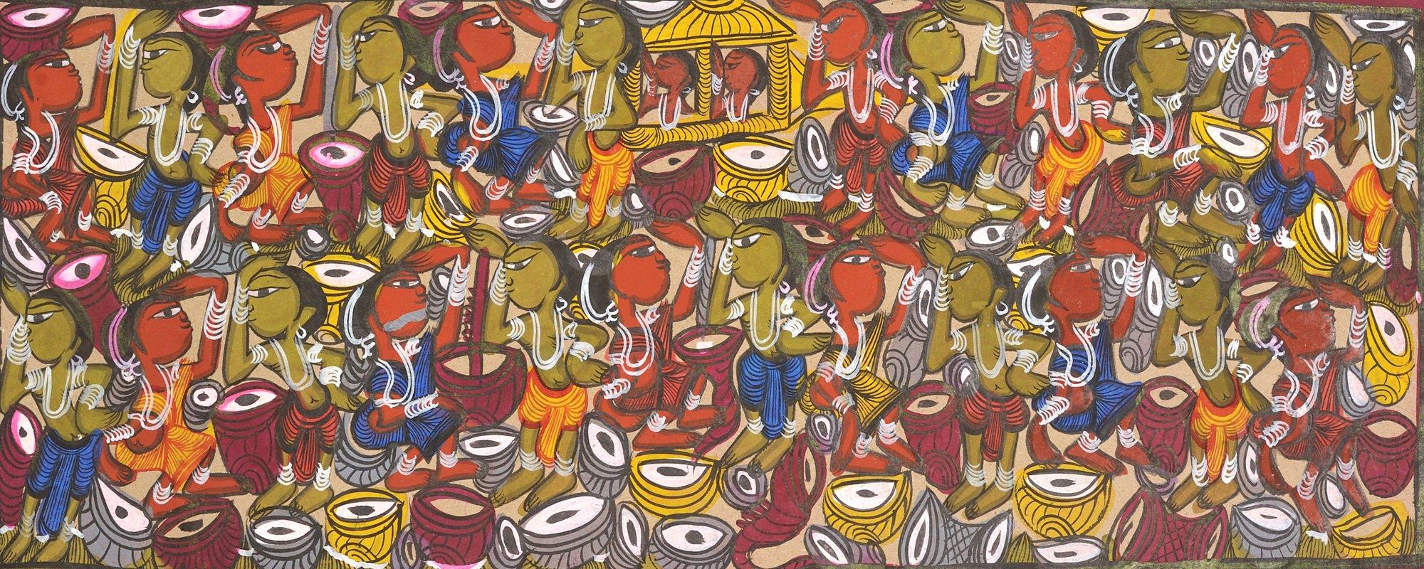 Tushu Utsav - Bengali Folk Painting on Paper - Artist: Sahajan Chitrakar
