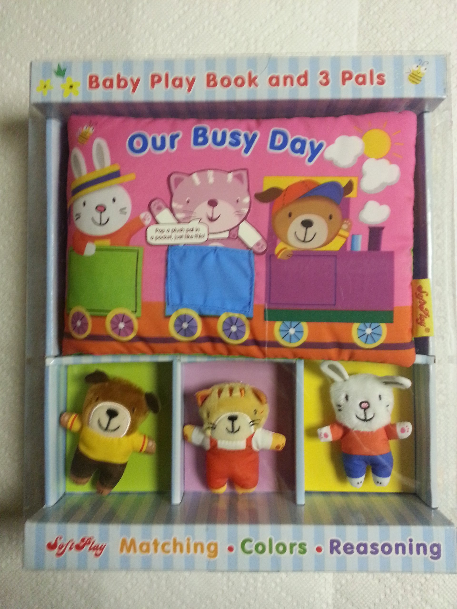 Softplay Our Busy Day Baby Play Book and 3 Pals