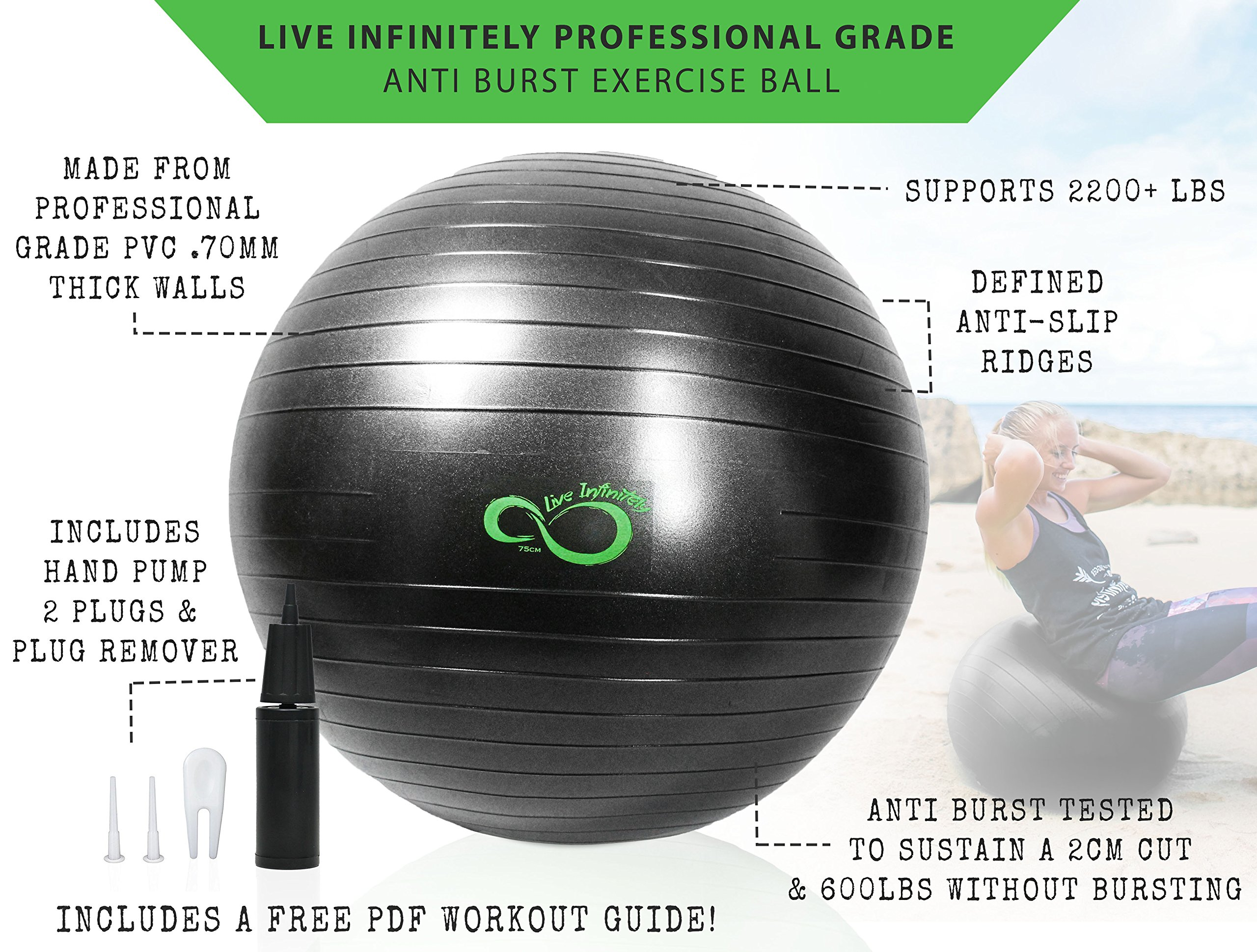 Live Infinitely Exercise Ball (55cm-95cm) Extra Thick Professional Grade Balance & Stability Ball- Anti Burst Tested Supports 2200lbs- Includes Hand Pump & Workout Guide Access Grey 95cm by Live Infinitely (Image #3)