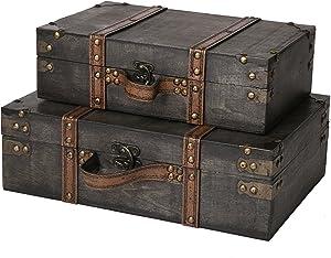 SLPR Worthington Wooden Storage Chest Suitcase - Set of 2 (Dark Brown) | Decorative Storage Wood Trunk with Straps