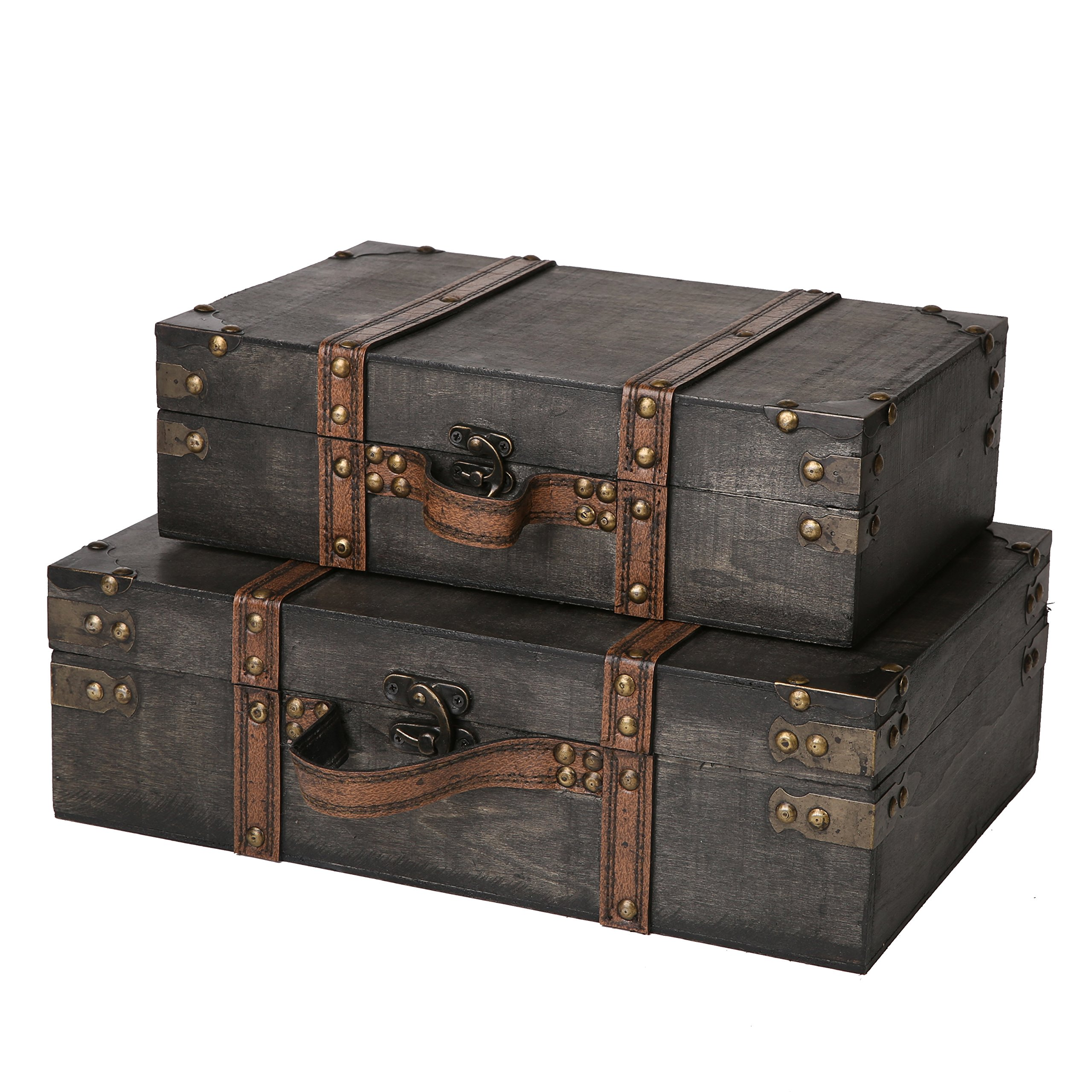 SLPR Worthington Wooden Suitcase with Straps (Set of 2, Dark Brown) | Old-Fashioned Antique Vintage Style Nesting Trunks for Shelf Home Decor Birthday Parties Wedding Decoration Displays Crafts