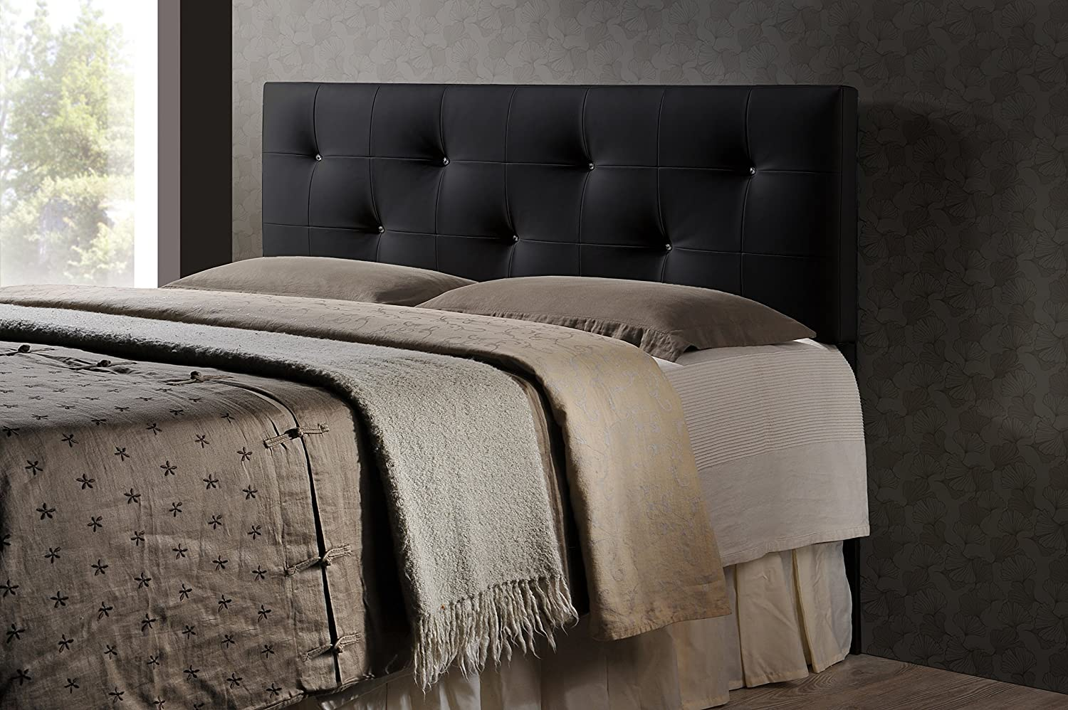 Amazon com baxton studio wholesale interiors dalini modern and contemporary faux leather headboard with faux crystal buttons king black