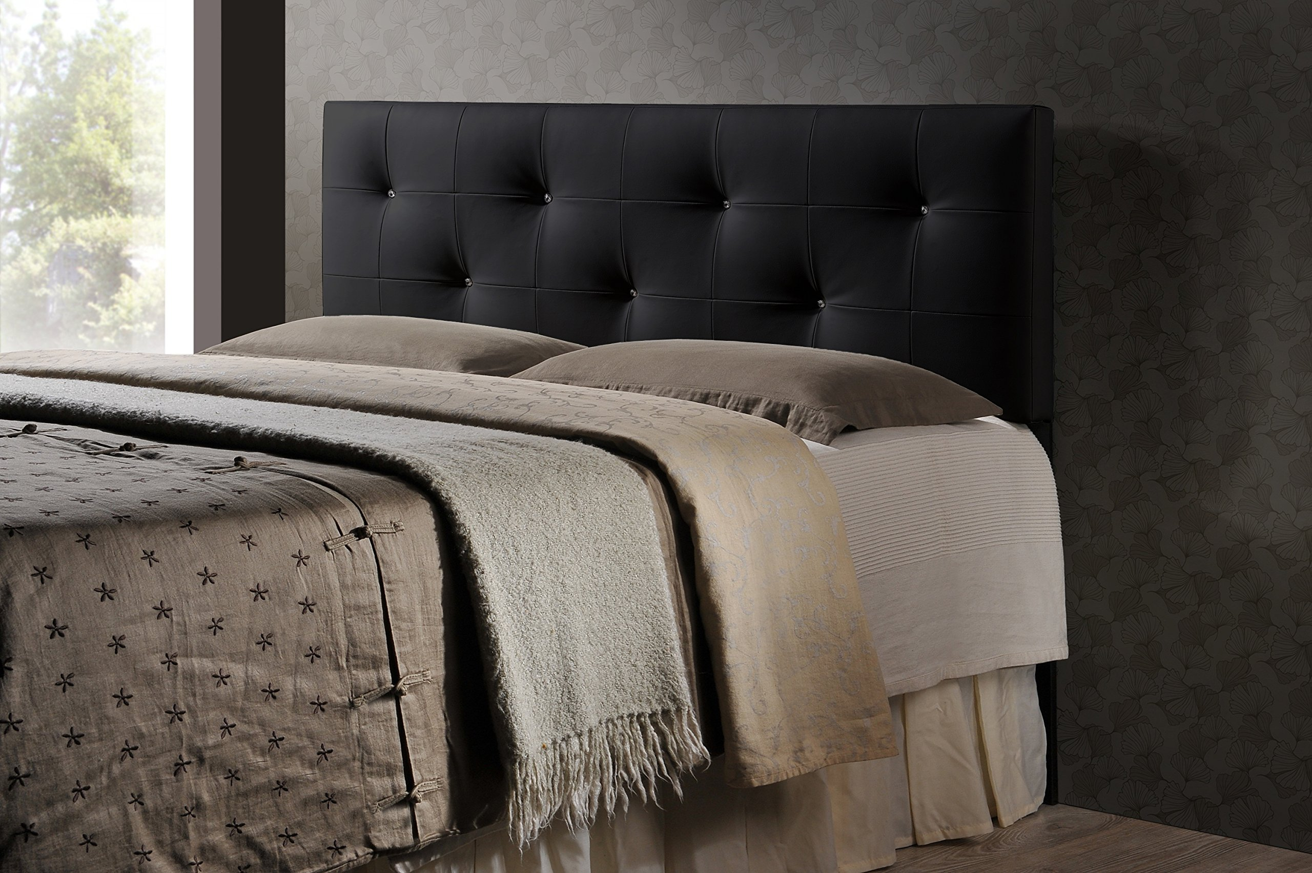 Baxton Studio Wholesale Interiors Dalini Modern and Contemporary Faux Leather Headboard with Faux Crystal Buttons, King, Black by Baxton Studio
