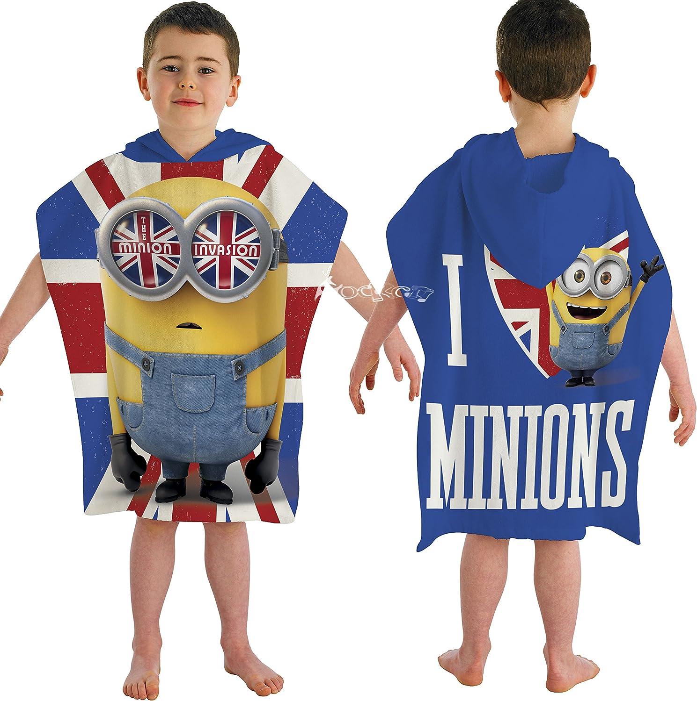 motivo bandiera Union Jack e Minion Asciugamano a poncho con cappuccio