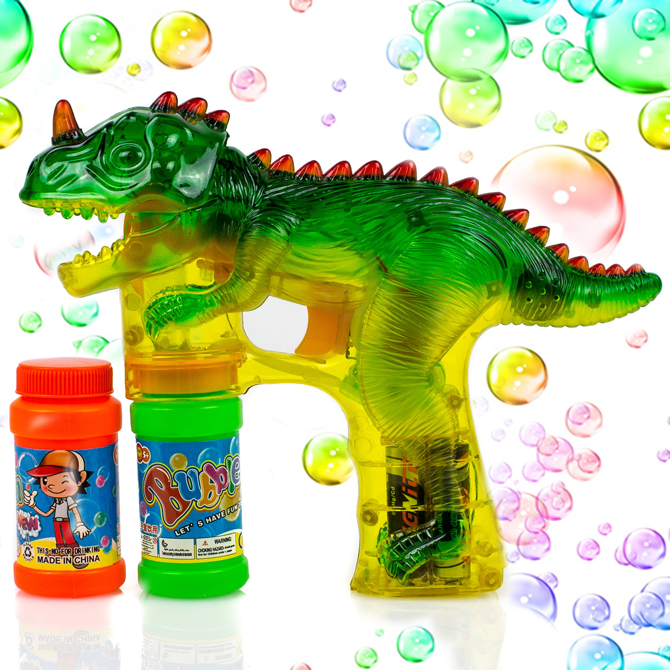 Toysery Dinosaur Bubble Shooter Gun Light Up Bubbles Blower with LED Flashing Lights and Sounds Dinosaur Toys for Kids, Boys and Girls.