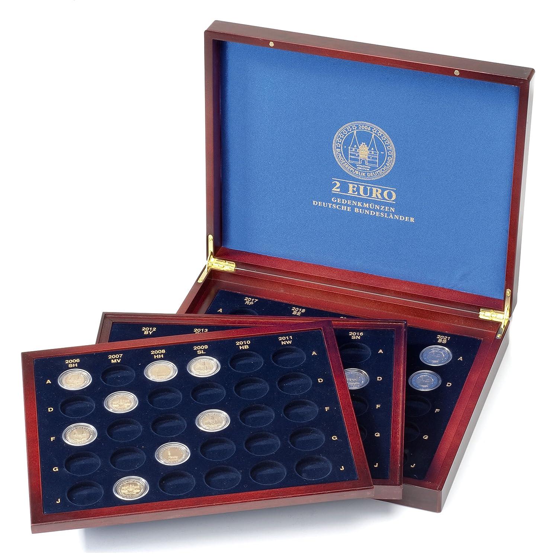Leuchtturm 313626 Estuche para monedas VOLTERRA TRIO de Luxe, para80monedas de2 Landes alemanes en cápsulas