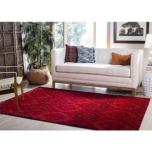 Safavieh Tunisia Collection and Orange Area Rug, 3 x 5 , Red