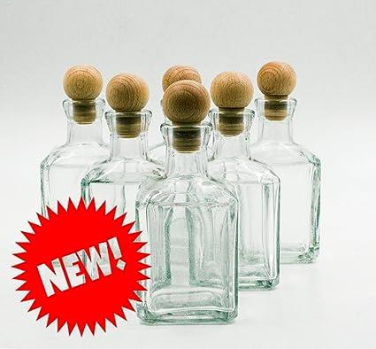 nr 8 botellas Cubica 250 ml de vidrio blanco tapón n°25