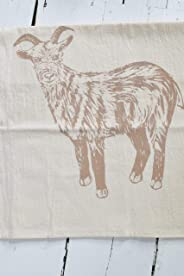 Organic Cotton Goat Tea Towel in Mocha Brown