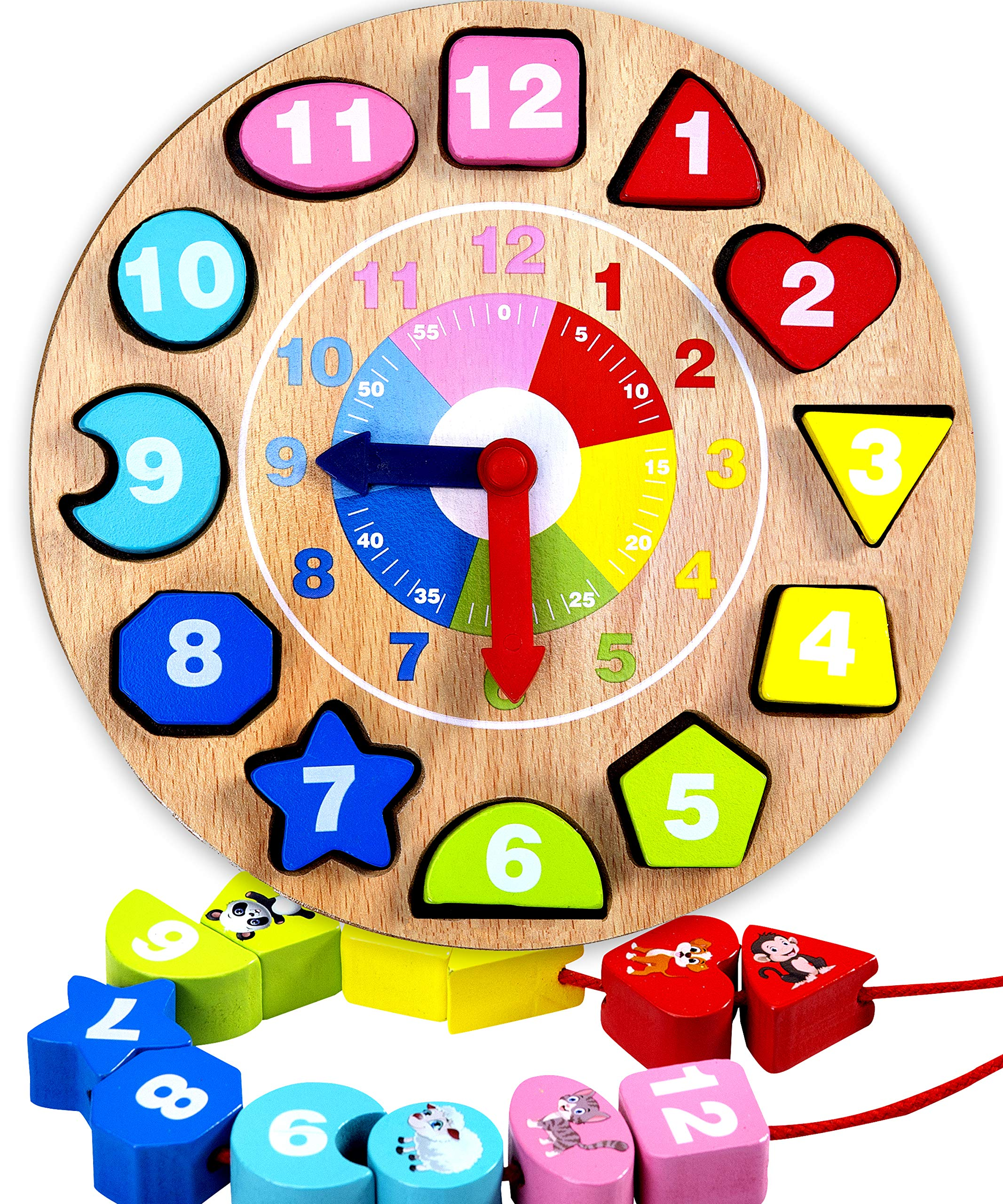 Jaques of London Teaching Clock | Clock For Kids To Learn | Tell The Time Clock | Montessori Toys | Wooden Toys | Learning Clock | Since 1795