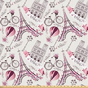 Lunarable City Love Fabric by The Yard, Iconic Elements of Paris Hearts on The Eiffel Tower and a Bicycle, Microfiber Fabric for Arts and Crafts Textiles & Decor, 2 Yards, Purple Pink